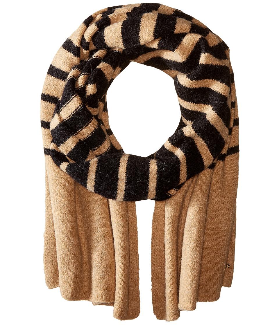 LAUREN Ralph Lauren - Boiled Wool Stripe Blanket Scarf (Black/Frontier Tan) Scarves