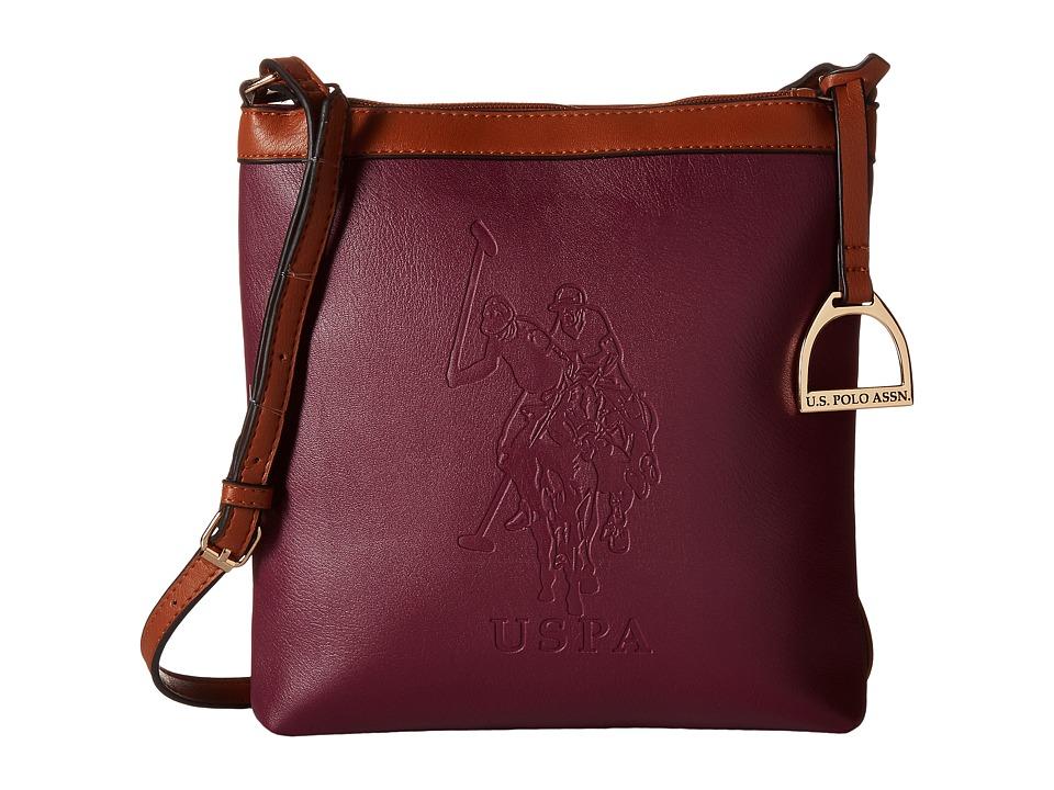 U.S. POLO ASSN. - Lia Embossed Crossbody (Merlot) Cross Body Handbags