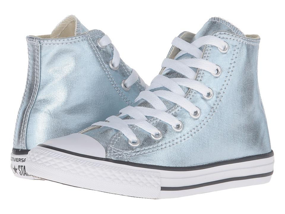 Converse Kids Chuck Taylor All Star Metallic Canvas Hi (Little Kid) (Metallic Glacier/White/Black) Girls Shoes