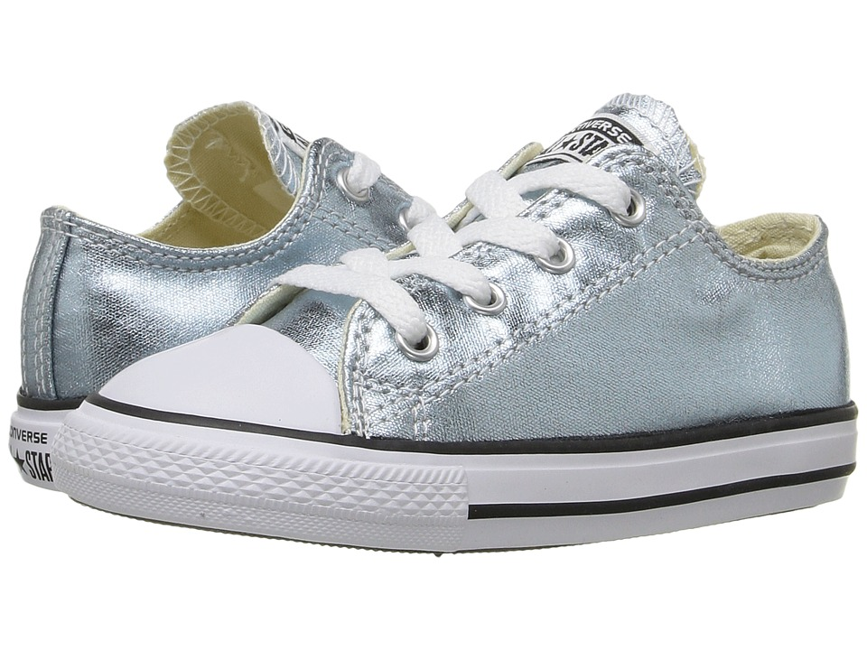 Converse Kids - Chuck Taylor All Star Metallic Canvas Ox (Infant/Toddler) (Metallic Glacier/White/Black) Girls Shoes