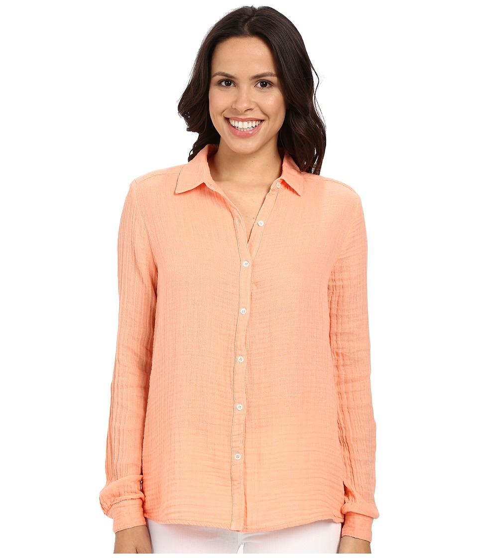 Three Dots - Long Sleeve Shirt (Coral Cream) Women's Long Sleeve Button Up