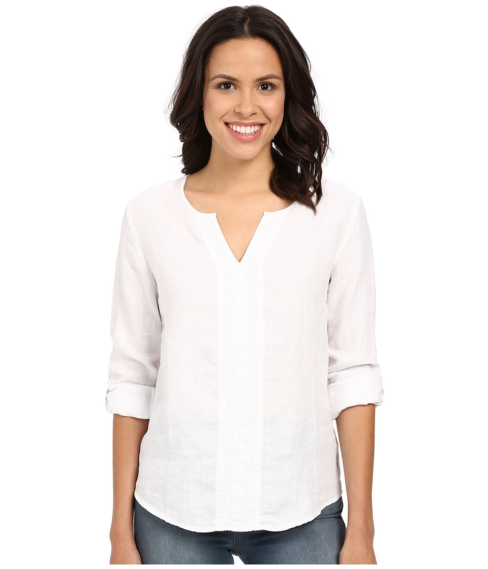 Three Dots - Yana Long Sleeve Top (White) Women's Long Sleeve Pullover