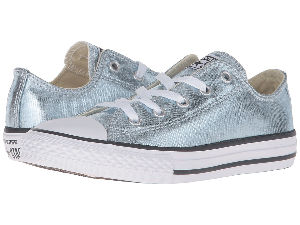 Converse Kids - Chuck Taylor All Star Metallic Canvas Ox (Little Kid) (Metallic Glacier/White/Black) Girls Shoes