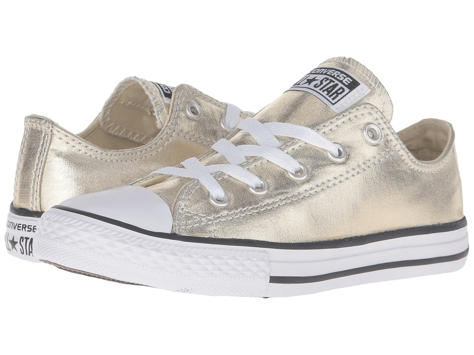 Converse Kids - Chuck Taylor(r) All Star(r) Metallic Canvas Ox (Little Kid) (Light Gold/White/Black) Girls Shoes