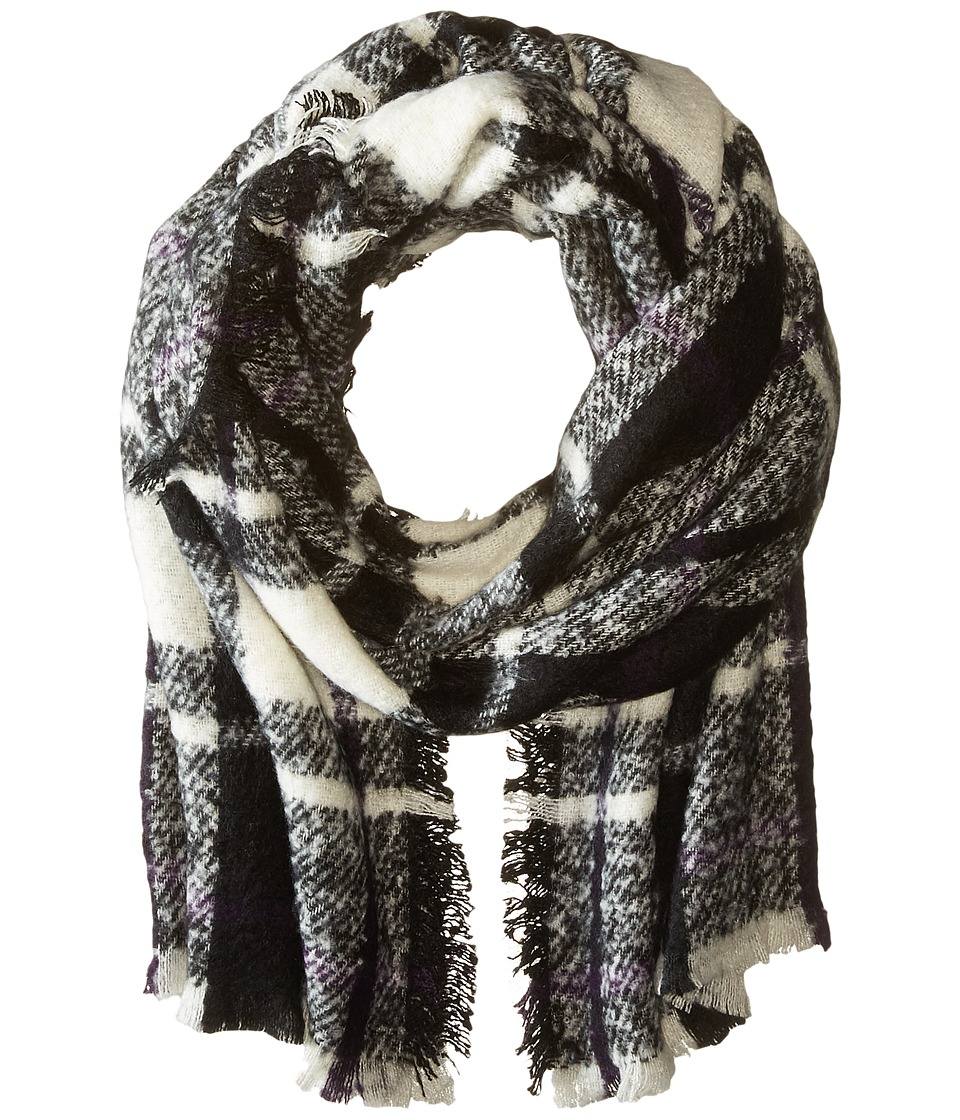 LAUREN Ralph Lauren - Mohair Blanket Plaid Scarf (Black/Cream) Scarves