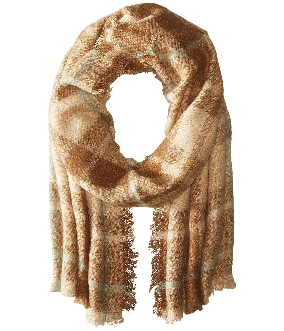 LAUREN Ralph Lauren - Mohair Blanket Plaid Scarf (Camel Tonal) Scarves