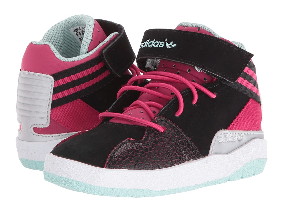 adidas Originals Kids Crestwood Mid (Toddler) (Black/Bold Pink/Ice Green) Girls Shoes