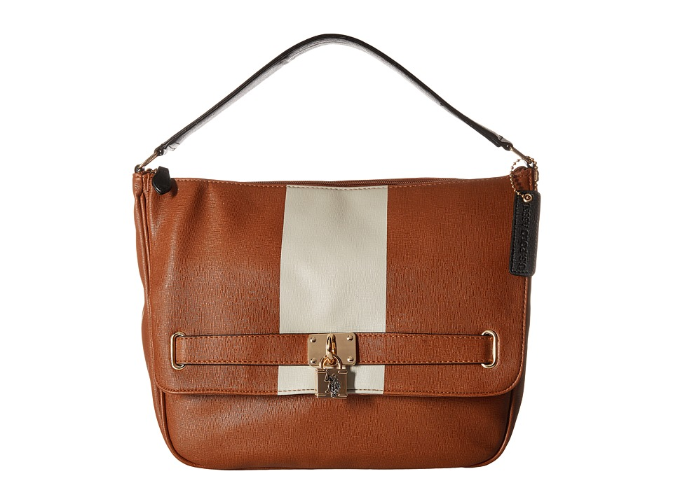 U.S. POLO ASSN. - Robinson Hobo (Cognac Stripe) Hobo Handbags