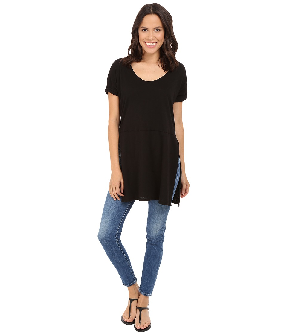 Three Dots - Laverne Side Slit Tunic (Black) Women's Short Sleeve Pullover
