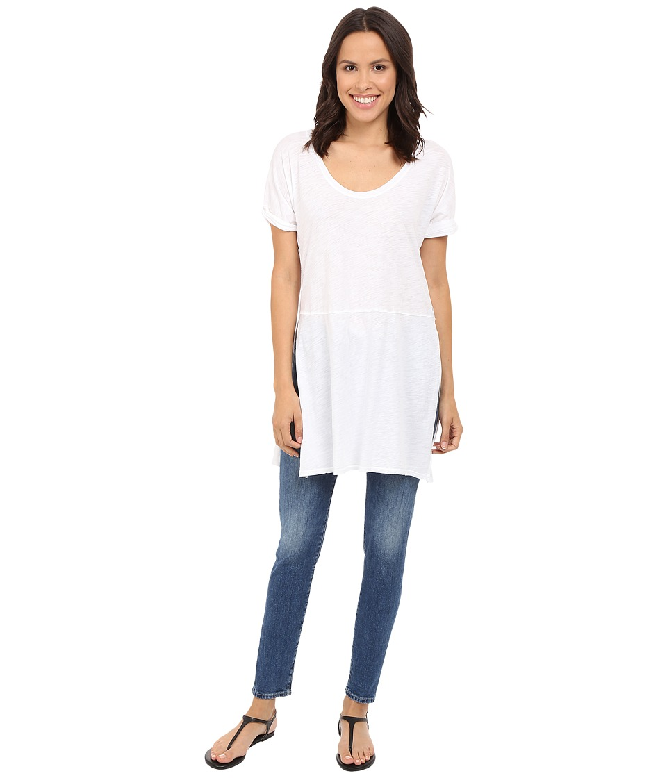 Three Dots - Laverne Side Slit Tunic (White) Women's Short Sleeve Pullover