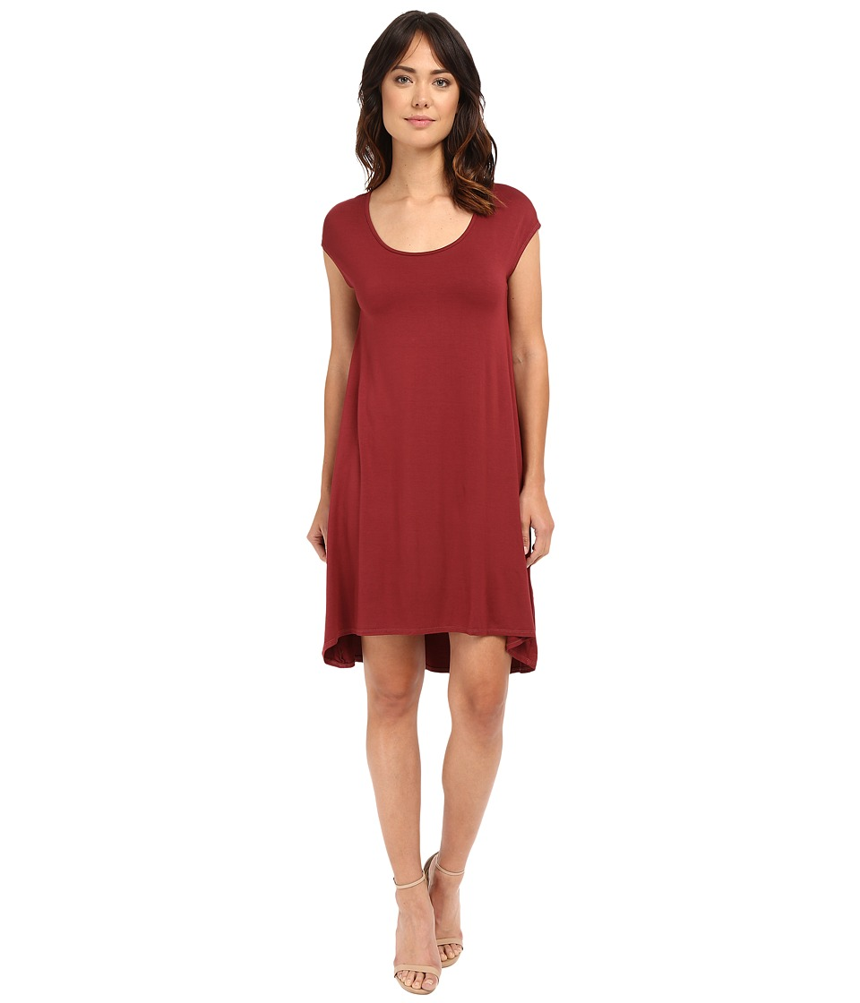 Three Dots Tracy Easy High-Low Dress (Black Cherry) Women