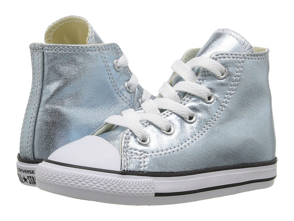 Converse Kids - Chuck Taylor All Star Metallic Canvas Hi (Infant/Toddler) (Metallic Glacier/White/Black) Girls Shoes