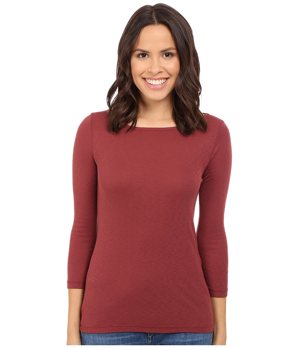 Three Dots Hannah 3/4 Sleeve British Tee (Black Cherry) Women