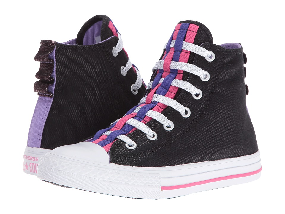 Converse Kids Chuck Taylor All Star Loopholes Hi (Little Kid/Big Kid) (Black/Frozen Lilac/White) Girl