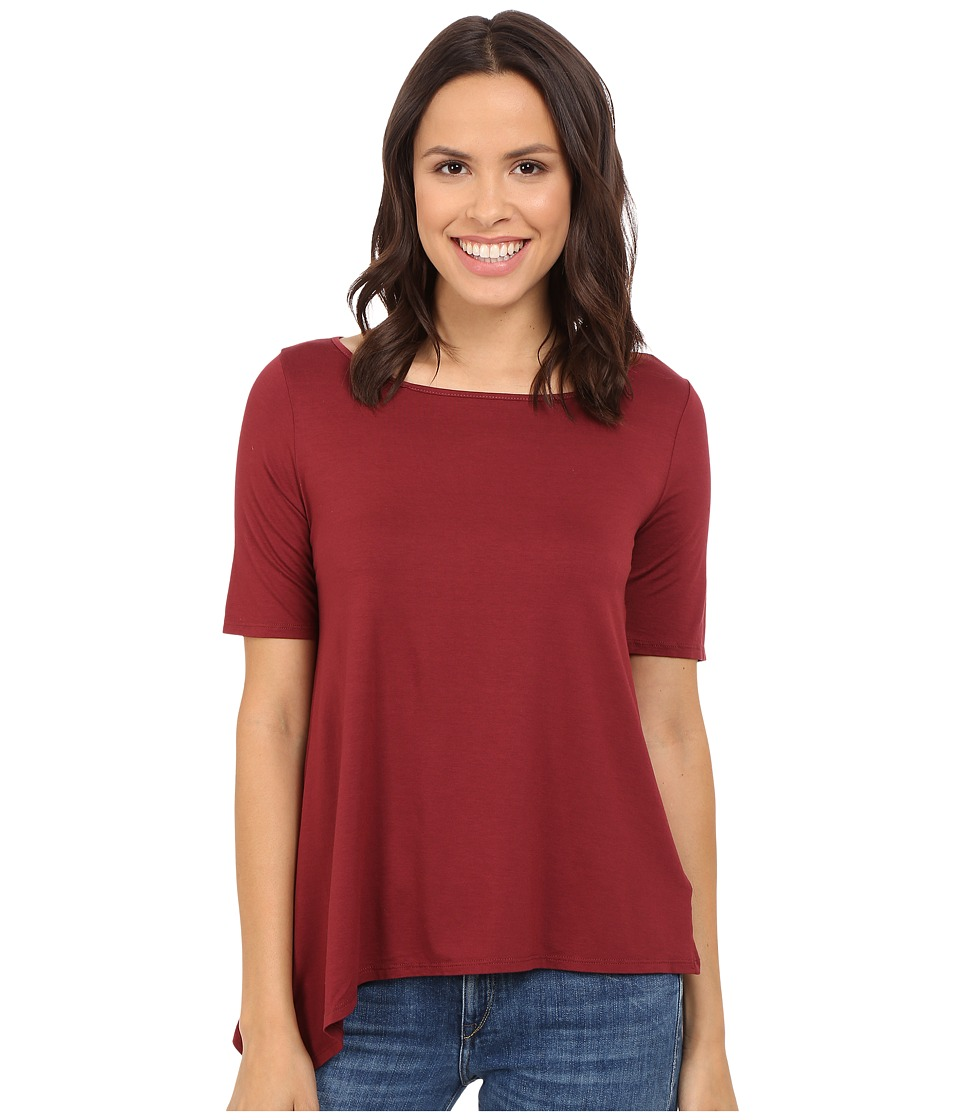 Three Dots - Debra Asymmetrical Boat Neck (Black Cherry) Women's Short Sleeve Pullover