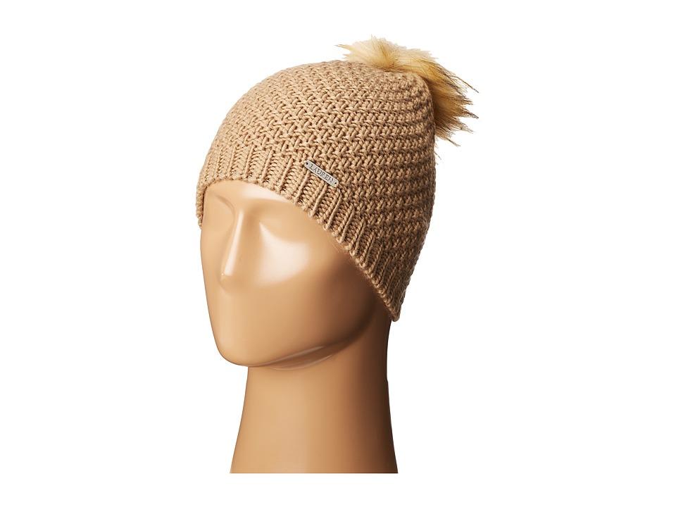 LAUREN Ralph Lauren - Moss Stitch Slouchy Hat w/ Pom (Camel) Beanies