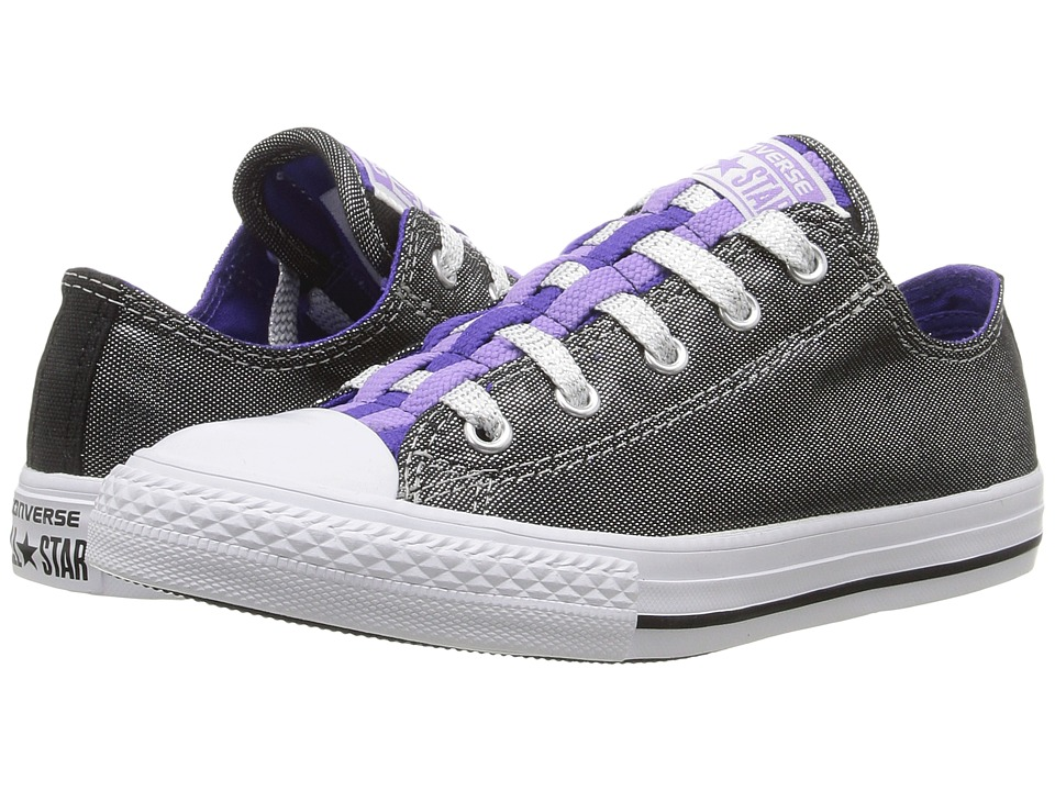 Converse Kids - Chuck Taylor All Star Loopholes Ox (Little Kid/Big Kid) (Silver/Candy Grape/White) Girls Shoes
