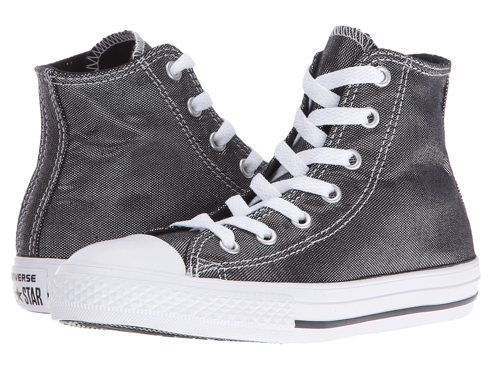 Converse Kids Chuck Taylor All Star Hi (Little Kid/Big Kid) (Silver/Black/White) Girls Shoes