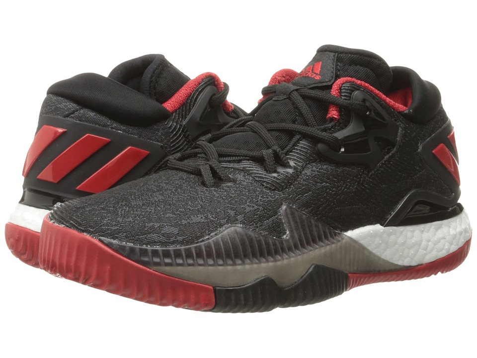 adidas Kids - Crazylight Boost Low (Big Kids) (Black/Black/Solar Red) Boys Shoes