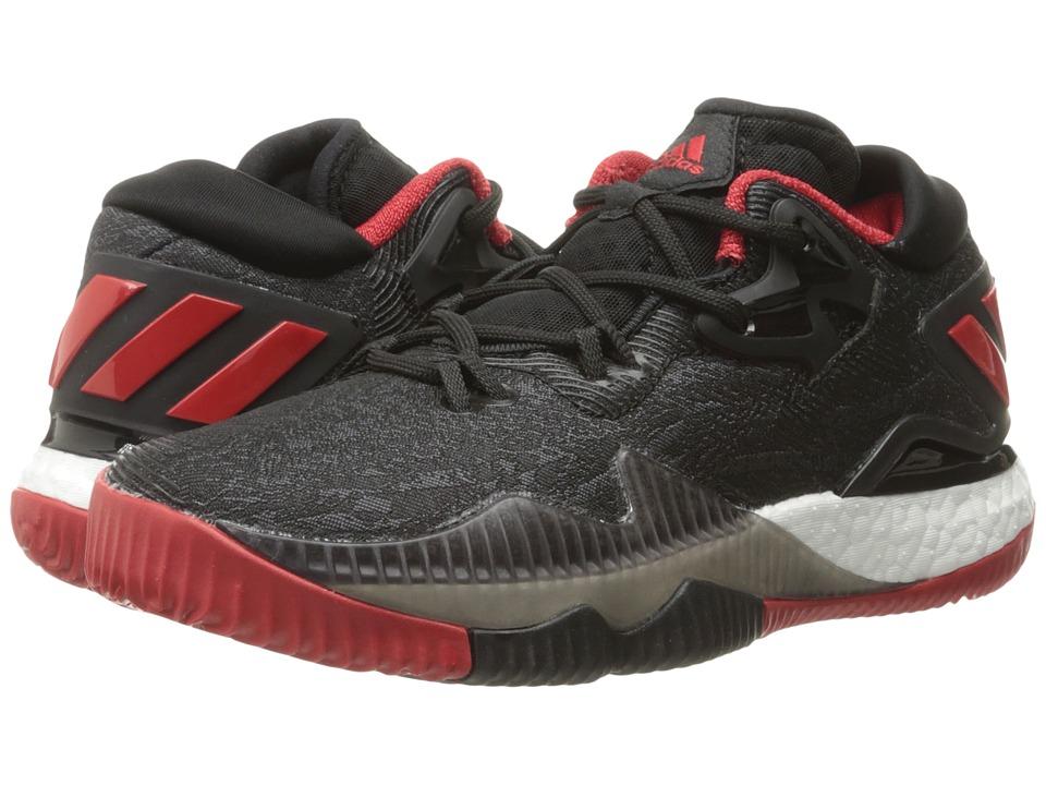 adidas Kids - Crazylight Boost Low (Big Kids) (Black/Black/Solar Red) Boys Shoes