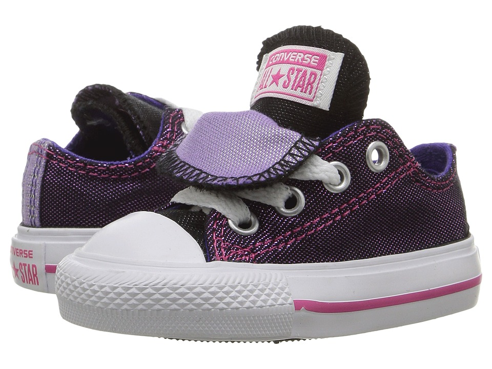 Converse Kids - Chuck Taylor All Star Double Tongue Ox (Infant/Toddler) (Vivid Pink/Candy Grape/White) Girls Shoes