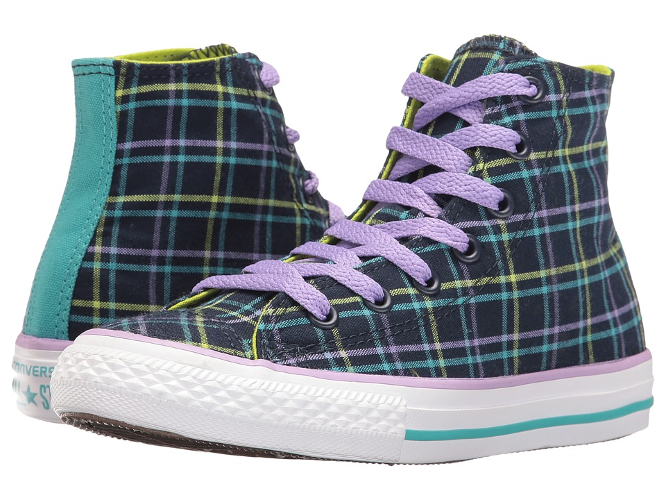 Converse Kids - Chuck Taylor All Star Plaid Hi (Little Kid/Big Kid) (Obsidian/White/Bold Lime) Girls Shoes
