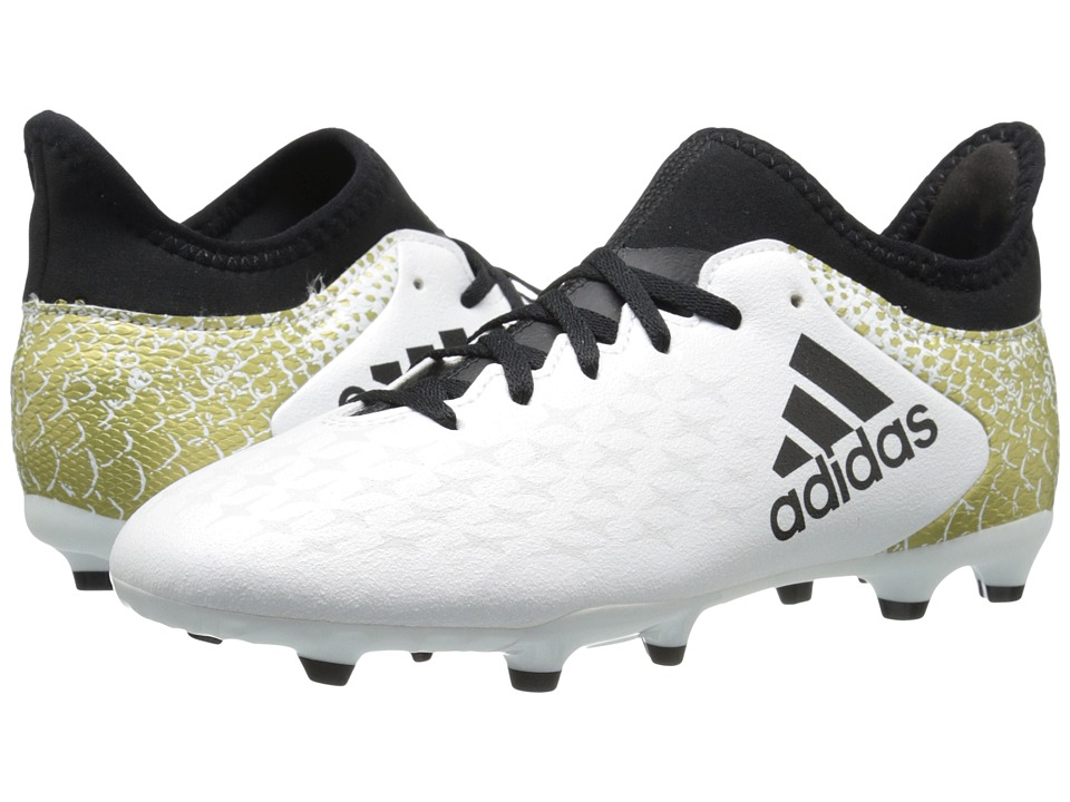 adidas Kids - X 16.3 FG Soccer (Little Kid/Big Kid) (White/Black/Gold Metallic) Kids Shoes