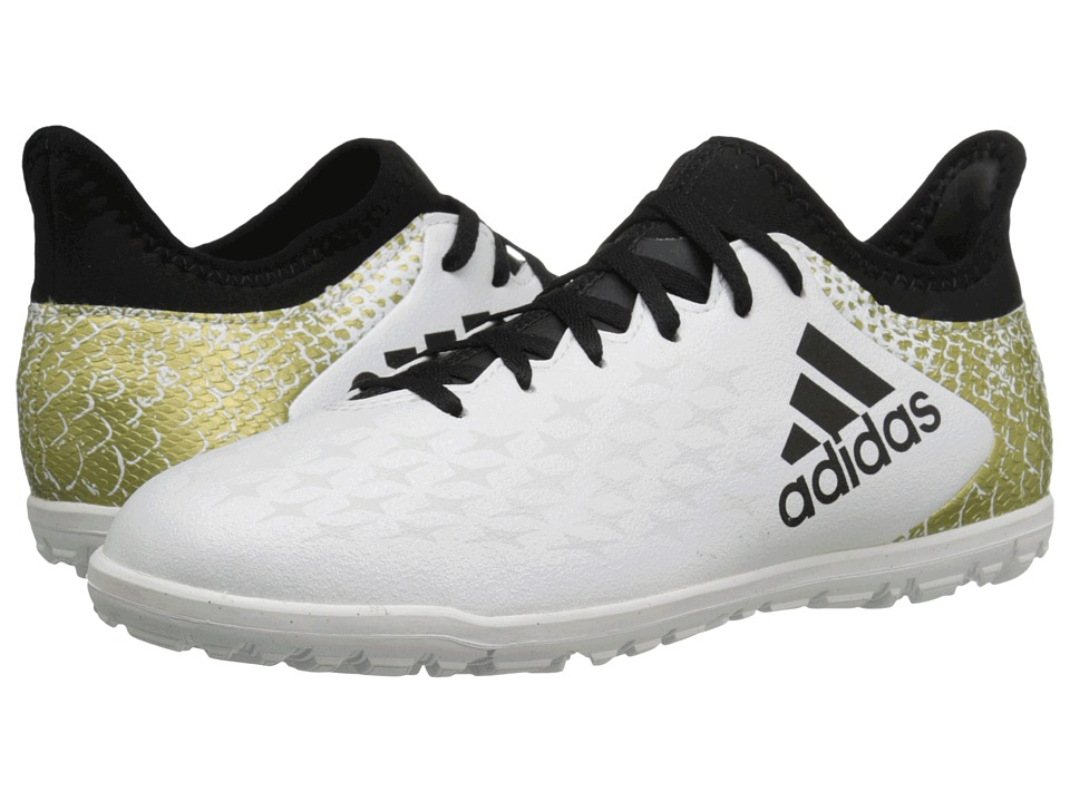 adidas Kids - X 16.3 TF Soccer (Little Kid/Big Kid) (White/Black/Gold Metallic) Kids Shoes