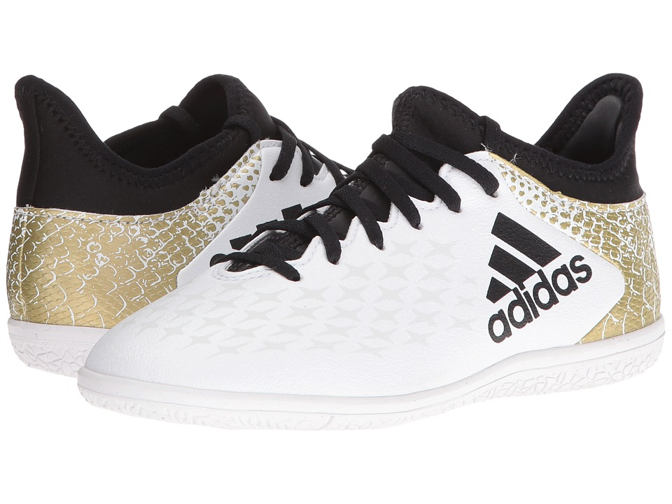adidas Kids - X 16.3 IN Soccer (Little Kid/Big Kid) (White/Black/Gold Metallic) Kids Shoes