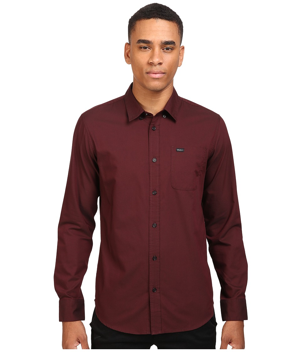 RVCA - That'll Do Oxford L/S (Tawny Port) Men's Long Sleeve Button Up