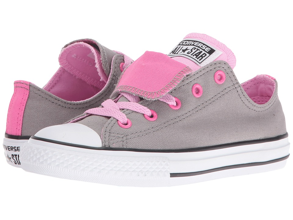 Converse Kids - Chuck Taylor All Star Double Tongue Ox (Little Kid/Big Kid) (Cadet Grey/Icy Pink/White) Girls Shoes