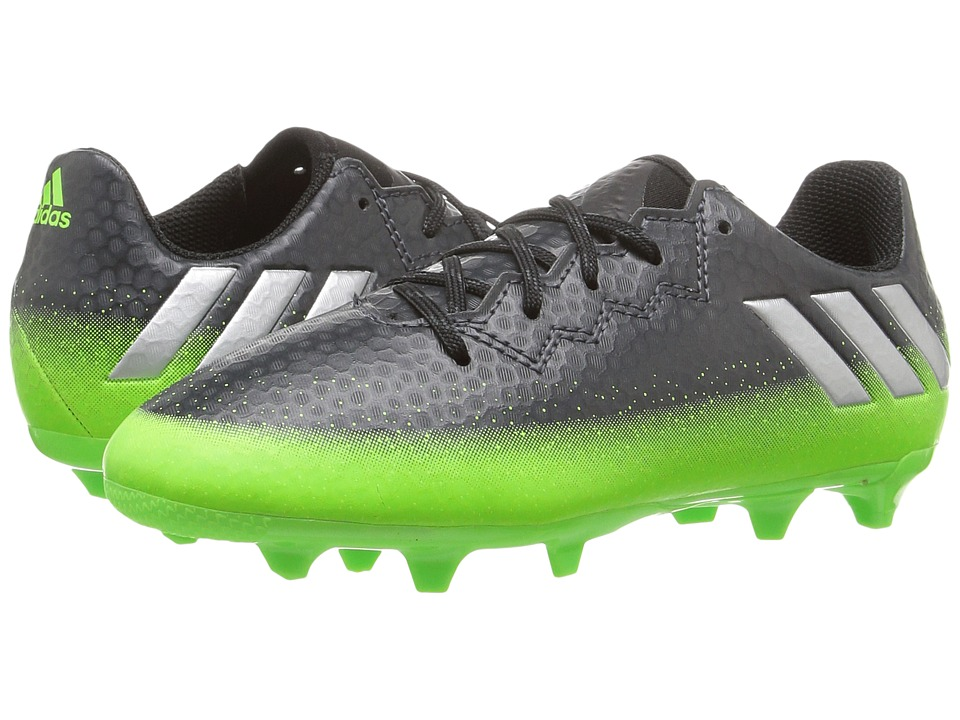 adidas Kids Messi 16.3 FG Soccer (Little Kid/Big Kid) (Dark Grey/Silver Metallic/Solar Green) Kids Shoes