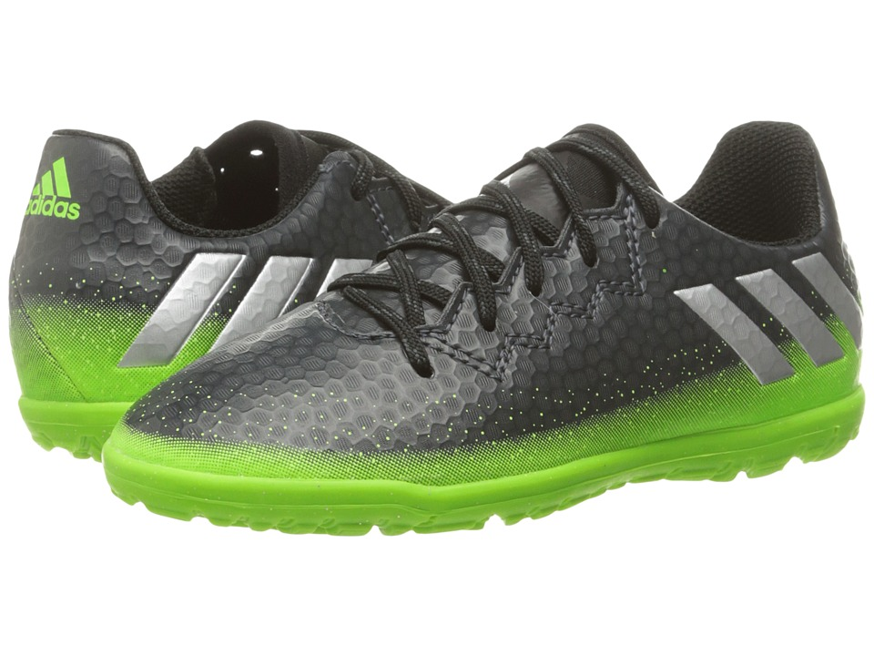 adidas Kids - Messi 16.3 TF Soccer (Little Kid/Big Kid) (Dark Grey/Silver Metallic/Solar Green) Kids Shoes