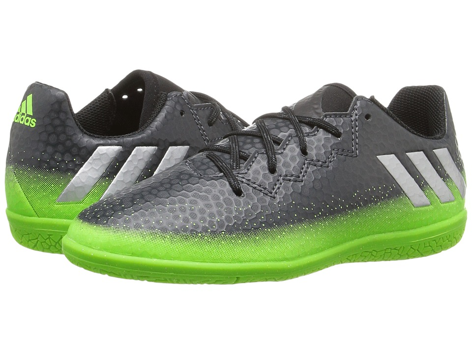 adidas Kids - Messi 16.3 IN Soccer (Little Kid/Big Kid) (Dark Grey/Silver Metallic/Solar Green) Kids Shoes
