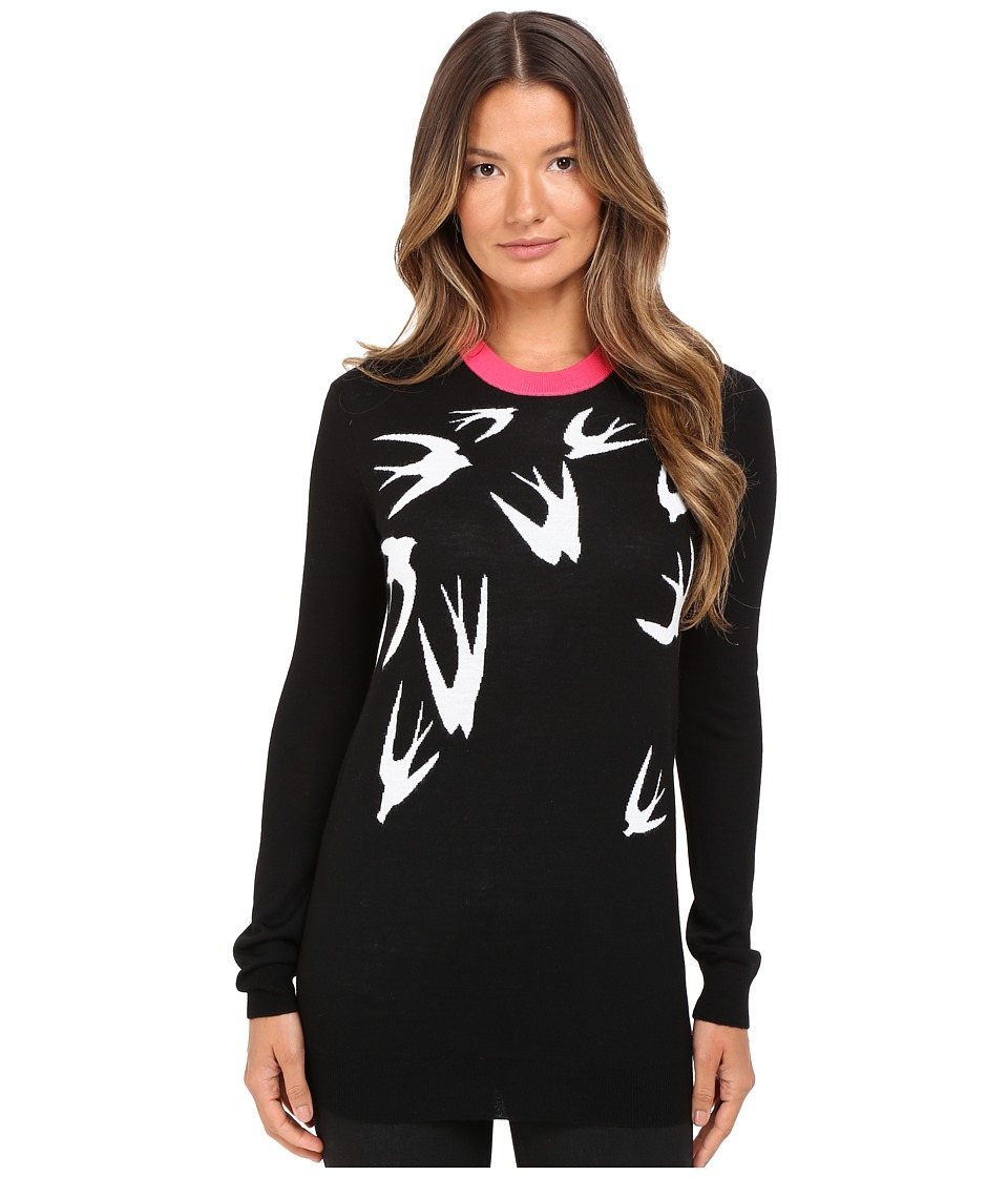 McQ - Swallow Jacquard Crew Neck (Black/White) Women's Clothing
