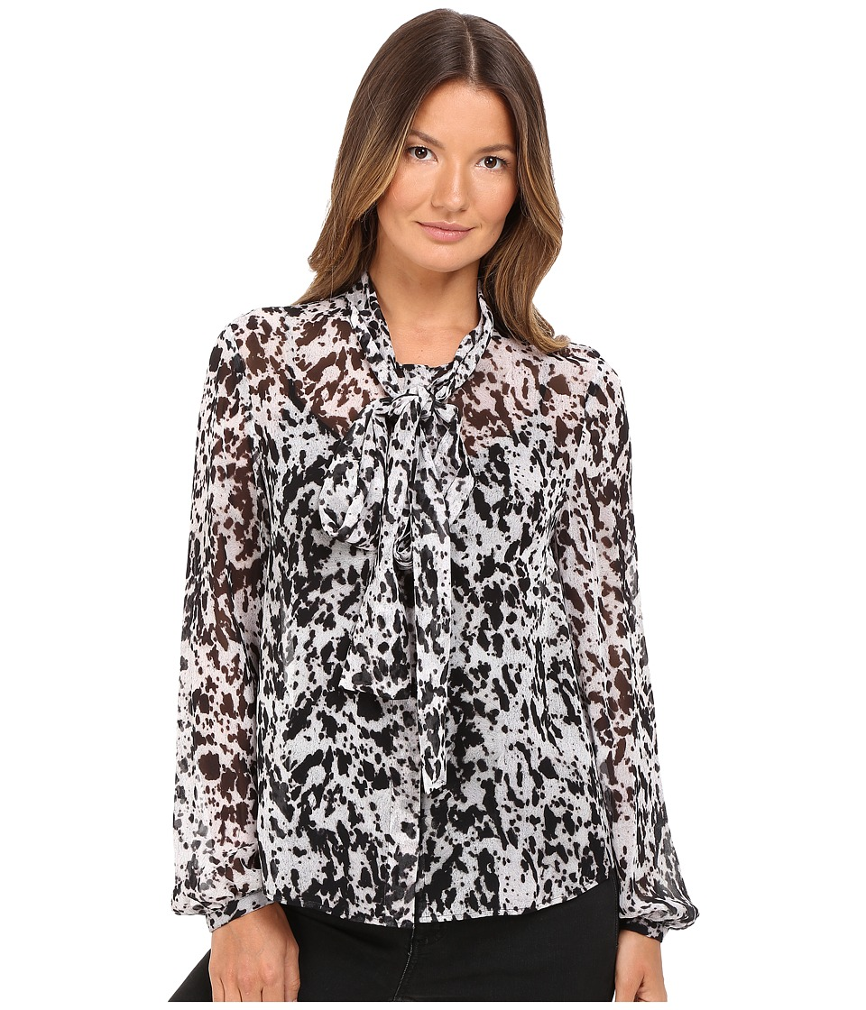 McQ - Knotted Neck Blouse (Black/Ivory Pony) Women's Blouse