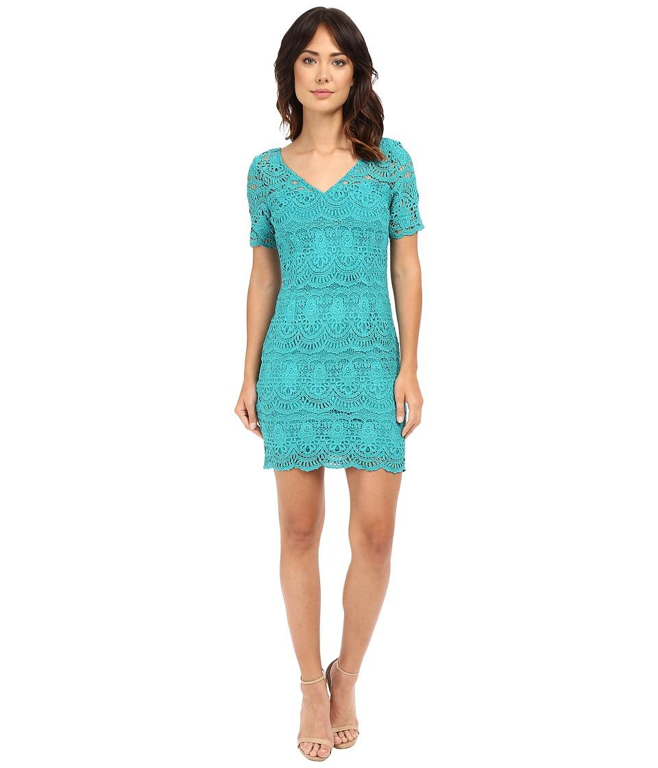 Brigitte Bailey - Lakshmi Lace Sheath Dress (Teal) Women's Dress