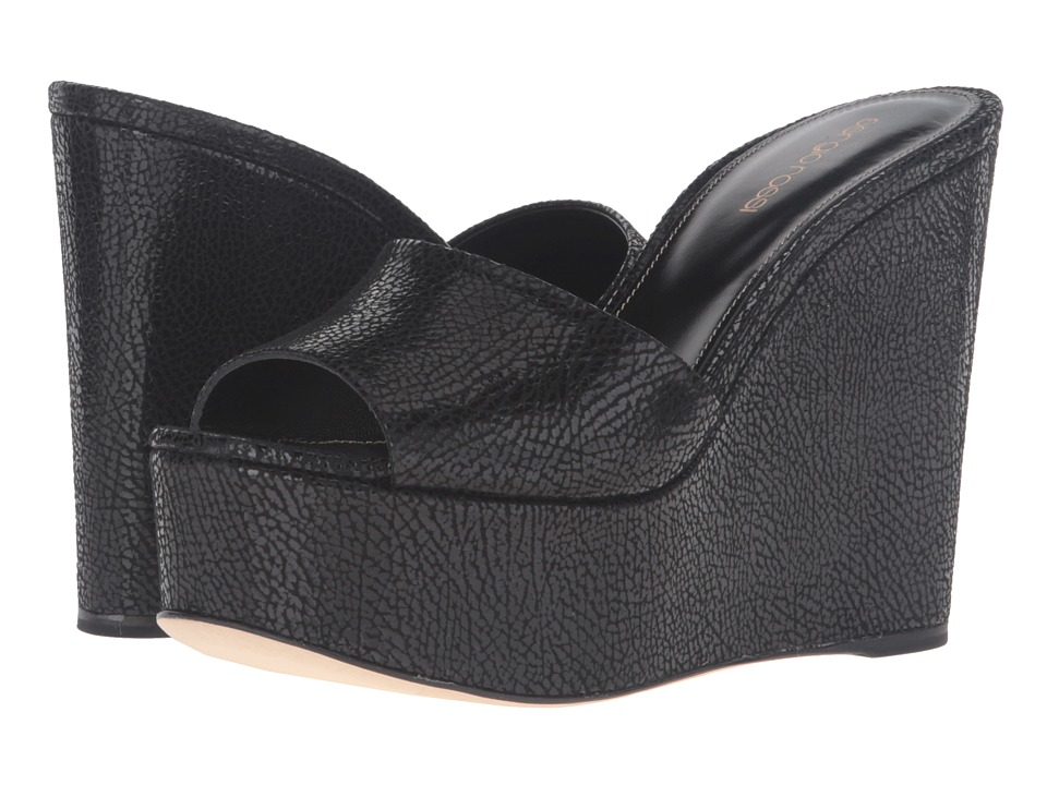 Sergio Rossi - Lakeesha (Black Pressed Suede) Women's Wedge Shoes