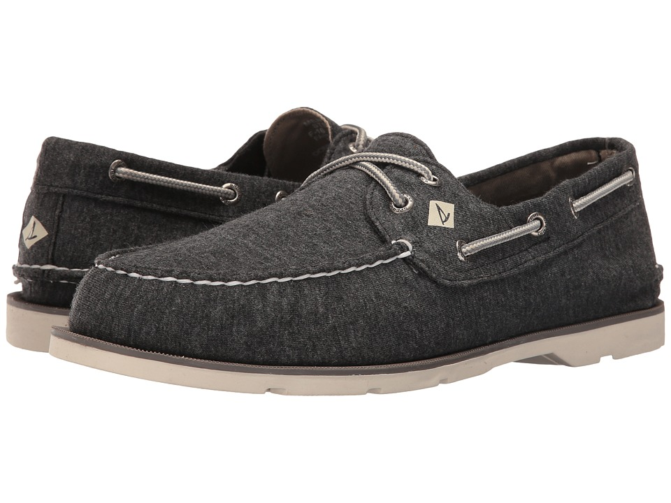 Sperry - Leeward 2-Eye Cross Lace Jersey (Black) Men's Shoes