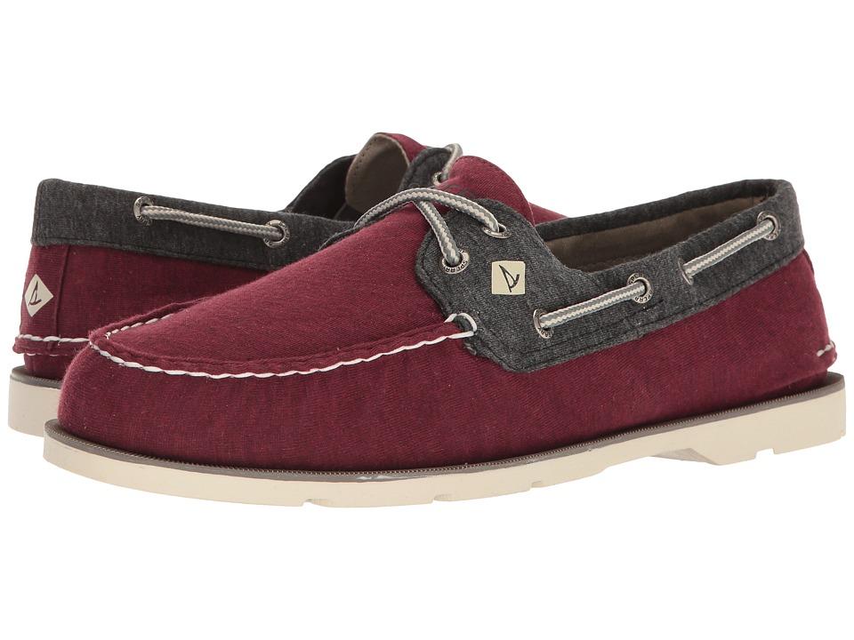 Sperry - Leeward 2-Eye Cross Lace Jersey (Burgundy/Black) Men's Shoes
