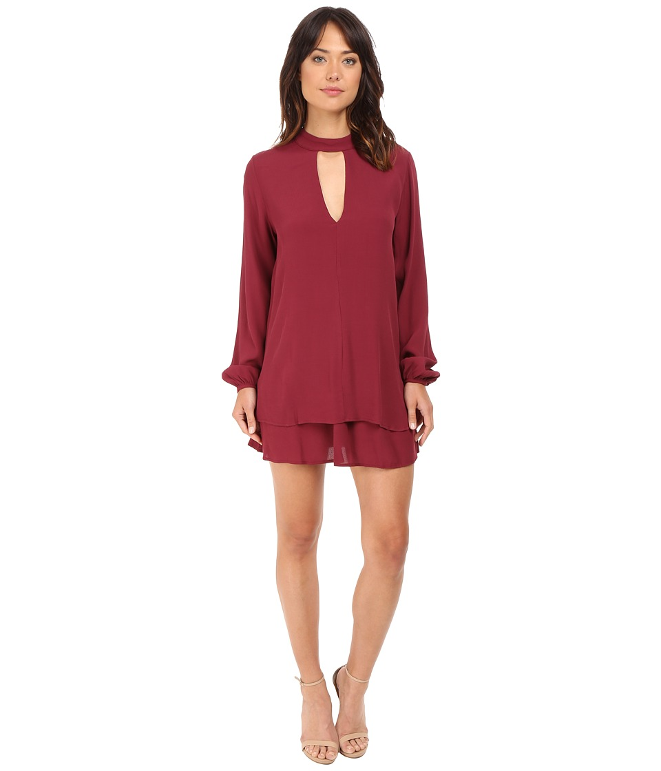Brigitte Bailey - Harper Keyhole Long Sleeve Dress (Burgundy) Women's Jumpsuit & Rompers One Piece