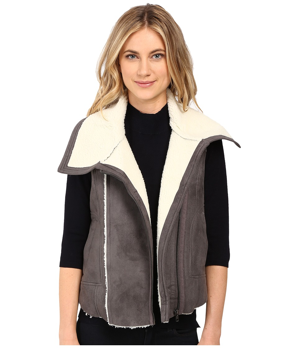 Brigitte Bailey - Mix Media Vest (Soot) Women's Coat