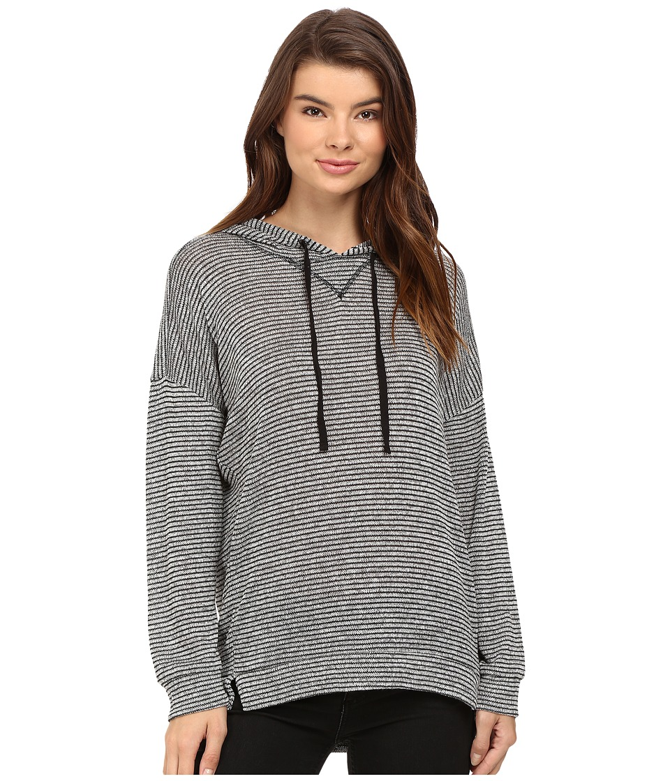 Brigitte Bailey Stripe Drawstring Hoodie (Heather Grey/Black) Women