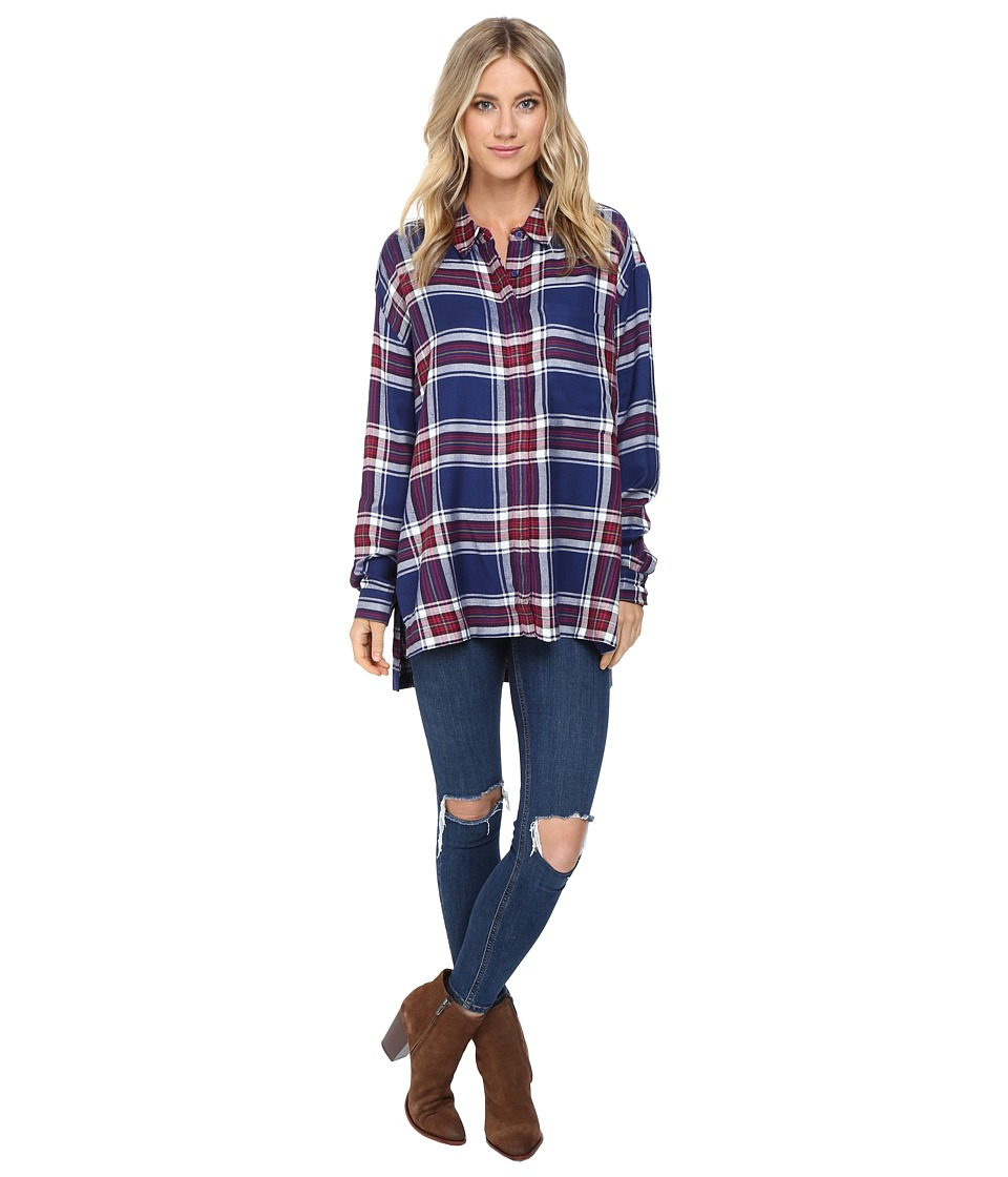 Brigitte Bailey - Plaid Boyfriend Button Up (Navy Combo) Women's Clothing