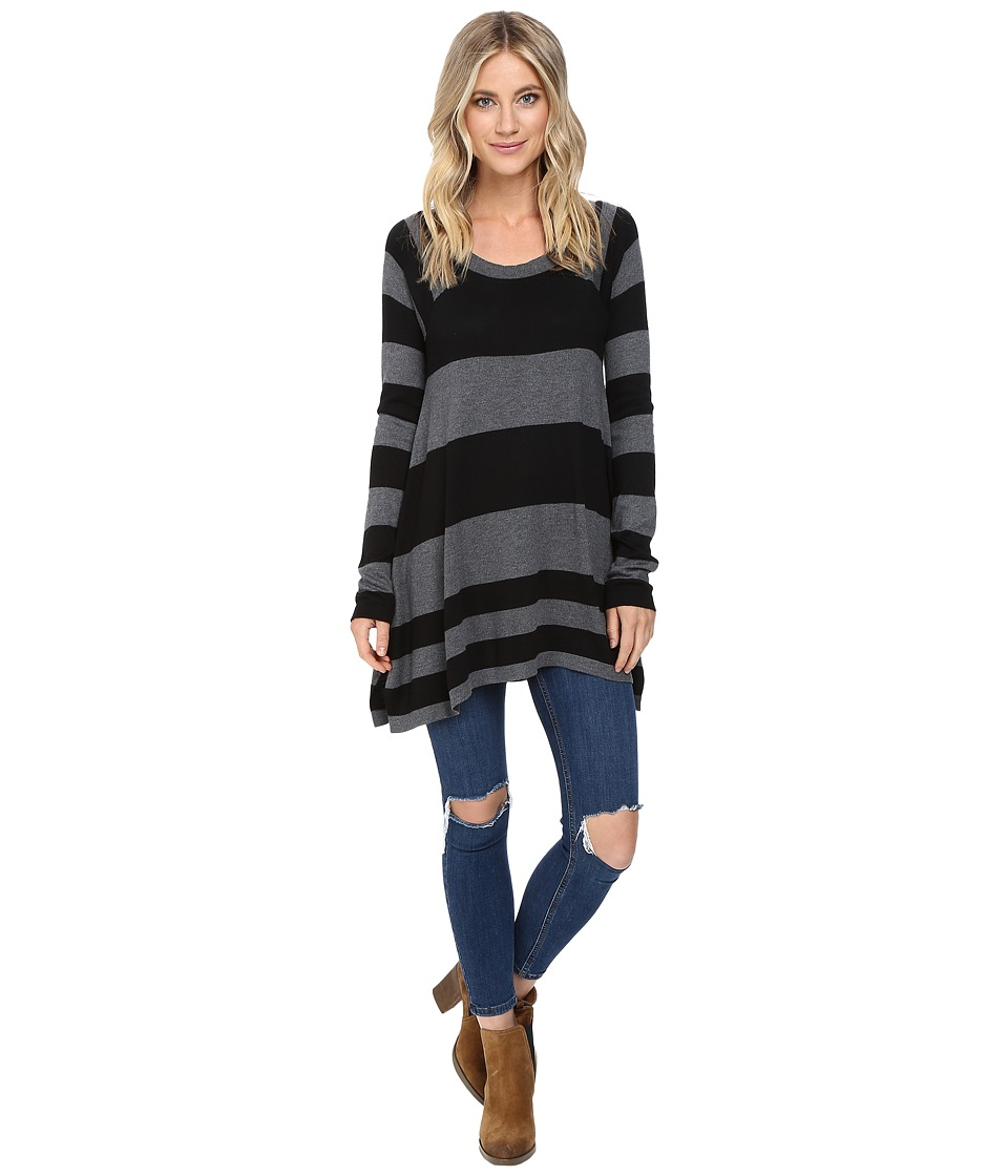 Brigitte Bailey - Striped Swing Pullover (Black/Heather Grey) Women's Clothing