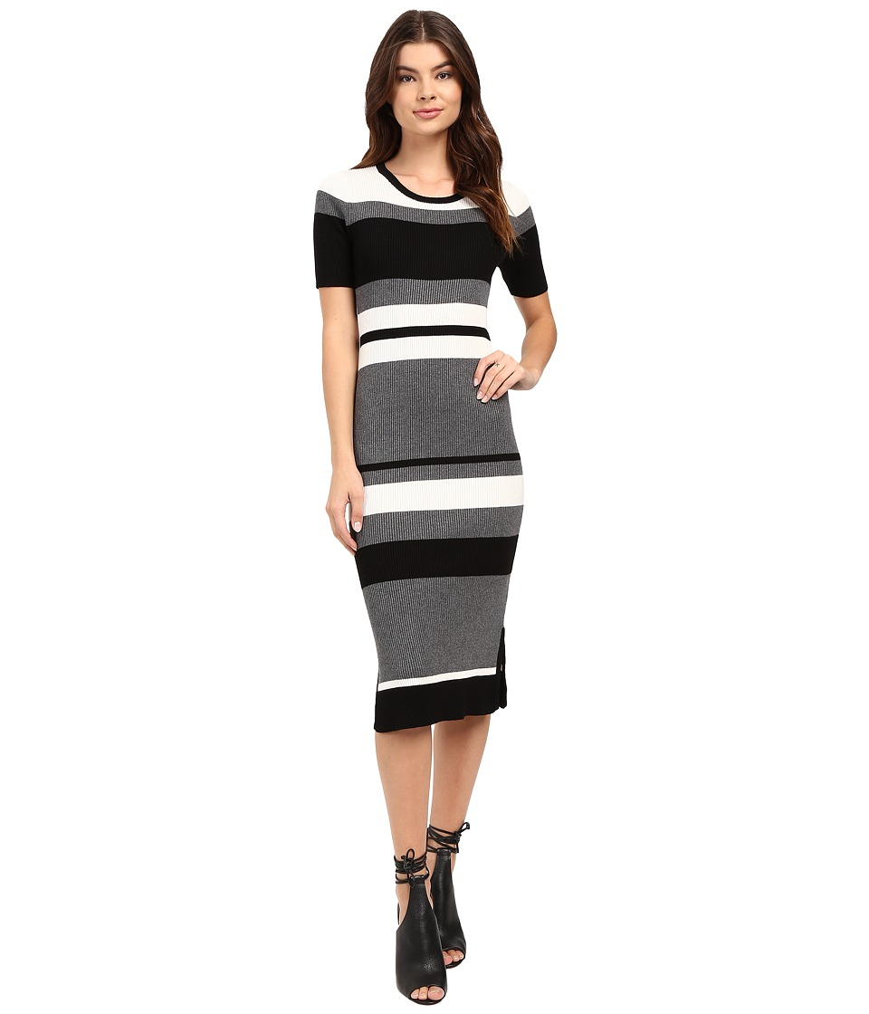 Brigitte Bailey - Rib Column Dress (Black/Grey/White) Women's Dress