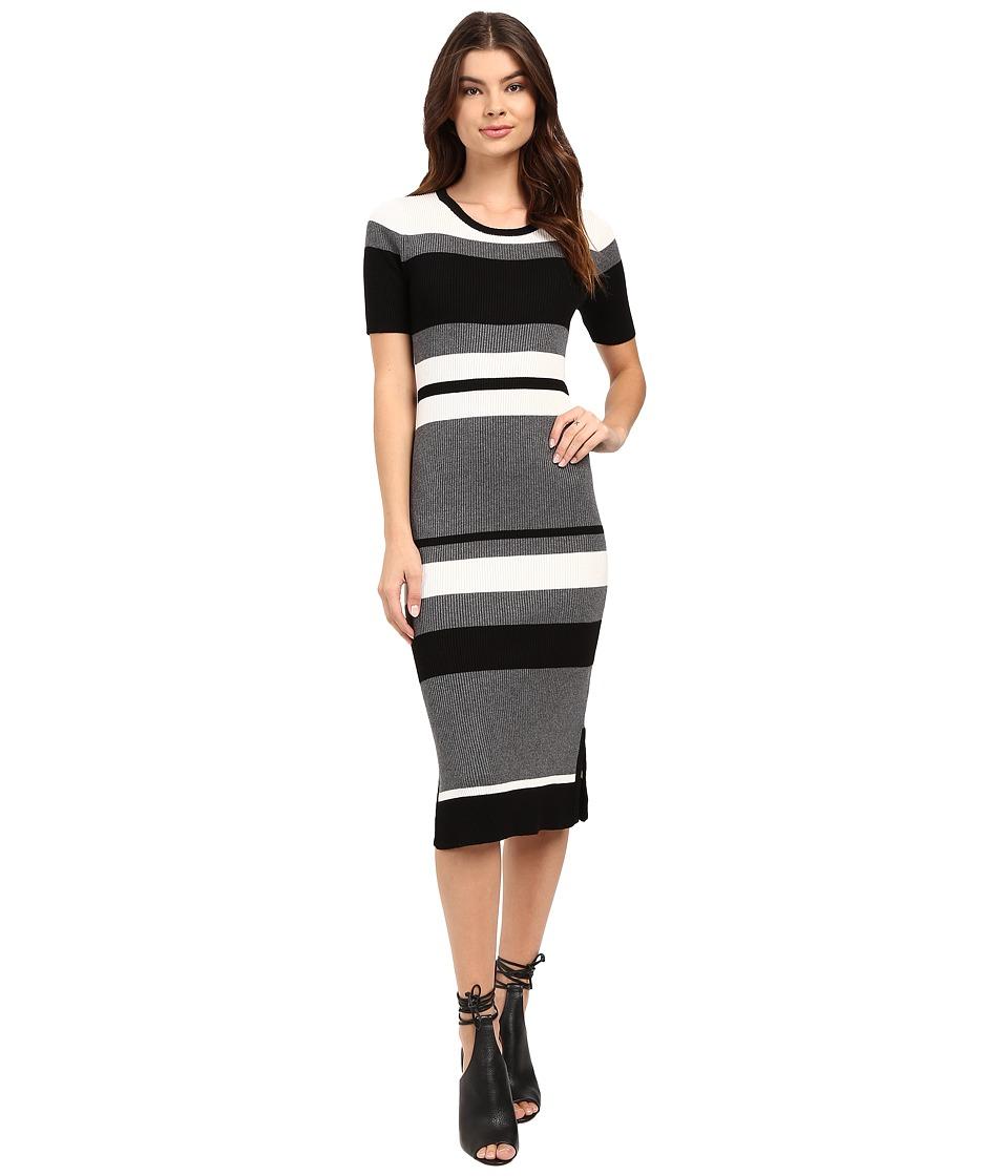 Brigitte Bailey - Rib Column Dress (Black/Grey/White) Women's Dress