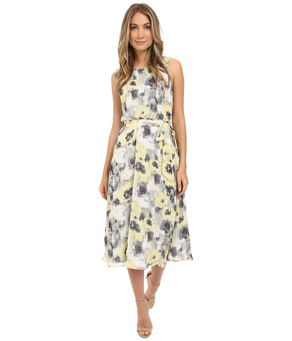 Christin Michaels - Turin Midi Dress w/ Belt Tie (Black/Grey/Yellow) Women's Dress