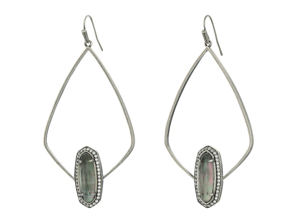 Kendra Scott - Arianna Earrings (Antique Silver/Black Mother-of-Pearl) Earring
