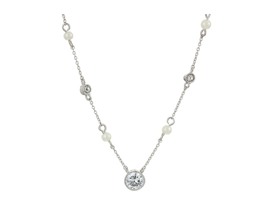 LAUREN Ralph Lauren - Social Set 16 Crystal Pendant Necklace (White Pearl/Crystal/Silver) Necklace